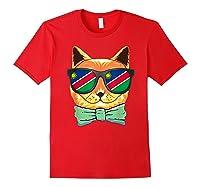 Namibia Flag Namibia Cat Sunglasses Shirt Red