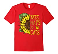 Sunflower Tats Naps & Cats Sunflower Tshirt Cat Lover Gifts Red