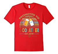 Promoted To Godfather Est 2019 Vintage Arrow Shirts Red