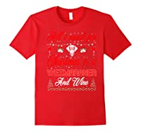 All I Want For Christmas Weimaraner And Wine Gift Premium T-shirt Red
