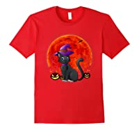 Vintage Scary Halloween Black Cat Costume Witch Hat & Moon T-shirt Red