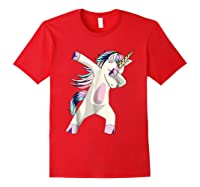 Dabbing Unicorn For Daughter Son Granddaughter Daddy Shirts Red
