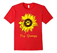 Dog Grampy Sunflower Gift Love Dogs And Flowers T-shirt Red