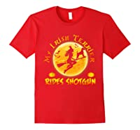My Irish Terrier Dog Rides Shotgun Halloween Costumes Dogs T-shirt Red