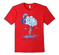 Awareness Flamingo Bule Ribbon Shirts Red