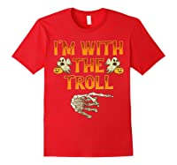 I'm With The Troll Costume Funny Halloween Couple Shirts Red