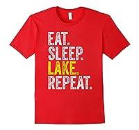Eat Sleep Lake Repeat Summer Boating Vacation Boat Premium T-shirt Red