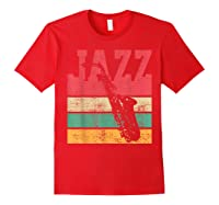 Saxophone Baritone Jazz Music Retro Vintage Gift T-shirt Red