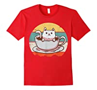 Coffee Cats Retro Vintage Gift T-shirt Red