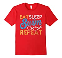 Eat Sleep Swim Repeat Funny Swimmer Gif Shirts Red