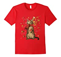 Cat Leaf Fall Hello Autumn Weather Shirts Red