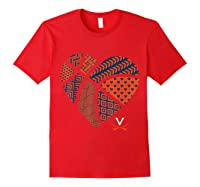 Virginia Cavaliers Patterned Heart Apparel Shirts Red