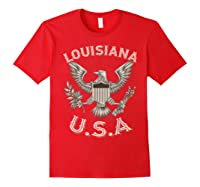 Louisiana Usa Patrio Eagle Vintage Distressed Shirts Red