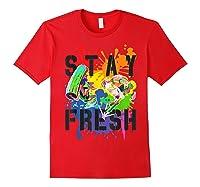 Splatoon Pride Stay Fresh Rainbow Paint Splat Shirts Red