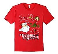 Santa Talks To Mechanical Engineers Christmas Ugly Xmas Shirts Red