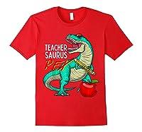 Teasaurus Rex - Funny Dinosaur Tea Appreciation Gift T-shirt Red
