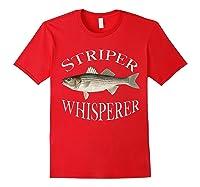 Striper Whisperer Striped Bass Fish Illustration Fishing T-shirt Red