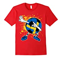 Dabbing Sweden Soccer Tshirt For Football Tee Red