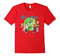 Rick & Morty Family Group Portal With Logo T-shirt Red