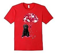 Black Labrador Love Balloons Valentine Day Shirts Red