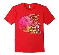 Baseball Funny Gift Team Play Like A Girl Softball Shirts Red