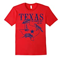 Vintage Texas Mockingbird Lone Star Bluebonnet Armadillo Hat Shirts Red