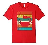 Coffee 70\\\'s Retro Style Distressed Stripes Premium T-shirt Red