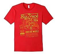Big Truck Semi Truck Retro Distressed T-shirt Red