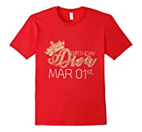 Birthday Diva On March 1st Pisces Pride Shirts Red