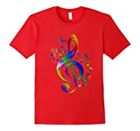 Treble Clef With Music Notes Shirts Red