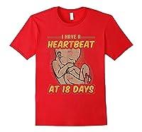 Pro Life Shirt - Catholic Tee - I Have A Heartbeat T-shirt Red