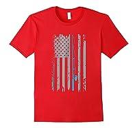 American Flag Fishing Vintage Fishing Shirts Red