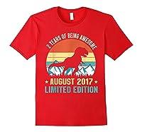 Born August 2 Limited Edition 2nd Birthday Dinosaur Shirts Red