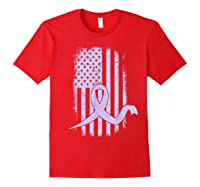 American Flag Stomach Cancer Awareness Ribbon T-shirt Red
