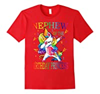 Nephew Of The Birthday Princess Unicorn Girl T-shirt T-shirt Red