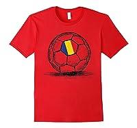 Romania Romanian Flag Design On Soccer Ball Artsy Football Shirts Red