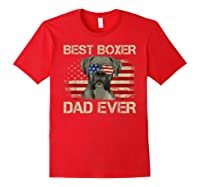 Best Boxer Dad Ever Dog Lover American Flag Gift Shirts Red