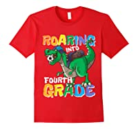 Roaring Into Fourth Grade 4 Dinosaur Back To School Soccer Shirts Red
