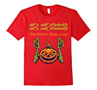 Funny Let's Eat Students Punctuation Saves Lives Tea Shirts Red