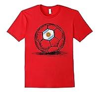 Argentina Argentine Flag Design On Soccer Ball Shirts Red
