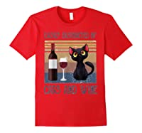 Cat Easily Distracted By Cats And Wine Shirts Red