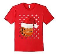 Christmas Stars Basketball Ball Santa Hat Funny Sports Xmas T-shirt Red