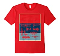 Aneisha Vintage Airplane Gift For Pilot Aviation Students Shirts Red