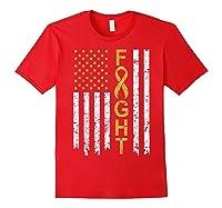 Childhood Cancer Awareness T-shirt American Flag Distresse T-shirt Red