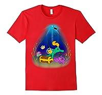 Underwater Treasure Hunter Cat Adventure Shirts Red