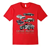 Classic American Muscle Cars Vintage Gift Shirts Red