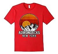 Adirondacks Retro Mountain Sunset Shirts Red