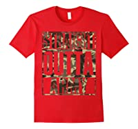 Straight Outta Army Veteran American Military Pride Gift Shirts Red