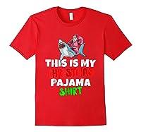 This Is My Christmas Pajama T Shirt Santa Riding Shark Gift Red
