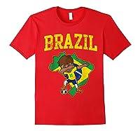 Brazil Soccer Boy Brazilian Football Dabbing Shirts Red